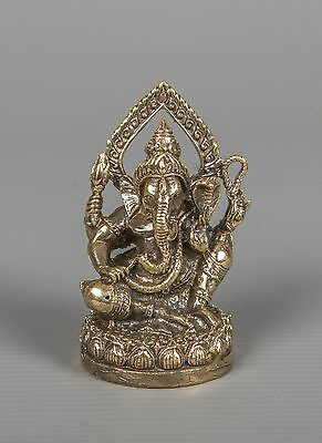 "Thailand Brass Seated Ganesha Statue - Remover of Obstacles - 6.5cm(2.5"")"