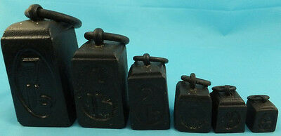 Six Vintage Imperial Graduated Cast  Iron Ring Weights Scales