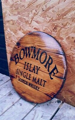 Bowmore islay whisky plaque wooden sign  mancave shed bar pub