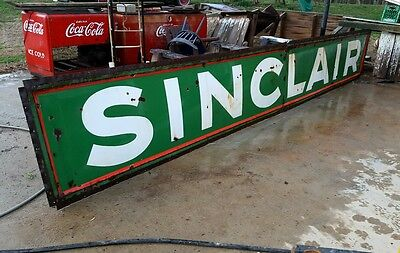 Sinclair Porcelain Advertising Sign Vintage Gas Station Oil Service Garage 17ft