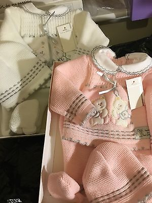 Spanish Baby Girls Knitted Cardigan Pram Set 3 Piece Newborn Pink Or White Boxed