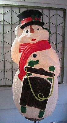 "Vintage SNOWMAN Carrot Nose 38"" Inches BLOW MOLD T.P.I. Yard Decor Canada 2000"