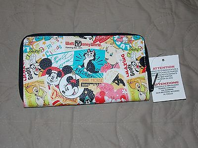 Disney Parks Classic Mickey And Friends Collage Wallet Clutch New With Tags