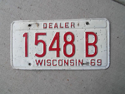1969  Wisconsin  License Plate  Dealer  Plate 69 Chevrolet 69 Plymouth 69 Ford ?