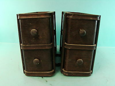 Lot of 2 Vintage Wooden Singer Sewing Machine Singer Craft Drawers Organizers