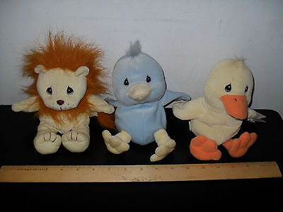 New! Precious Moments Tender Tails Plush Lot Yellow Blue Duck Lion 2 With Tags