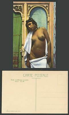 Ethnic Old Postcard Native Arabe Arabic Arab Young Girl with Bare Breasts Towels
