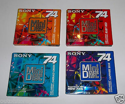 Sony MDW-74 Recordable Mini Disc Color Collection - 4 Total New Sealed