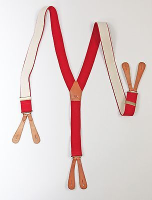 RRL & CO. Red  Elastic & Leather Suspenders Braces one size