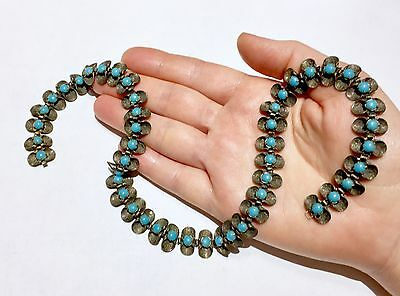 Antique Vintage Pinchbeck Persian Turquoise Paste Riviere necklace