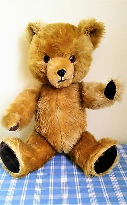 """Vintage 50's 60's Golden Brown Teddy Bear Fully Jointed 14"""" Tall"""