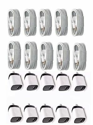 Lot 10 x 1A Wall Charger + 3FT Lightning Cable for iPhone 5/5s/6&6S/7/7 Plus