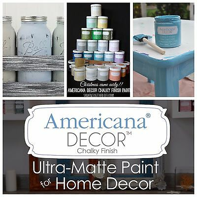 Americana Decor 8oz Chalk Finish Paint 35 Colors to Choose From
