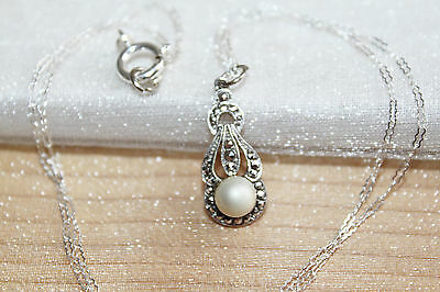 Fine Art Deco Vintage Sterling Silver Marcasite & Genuine Pearl Necklace