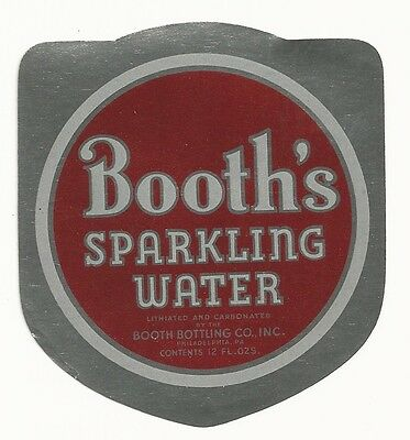 1930's Booth's Sparkling Water Foil Label - Philadelphia, PA - Lithiated