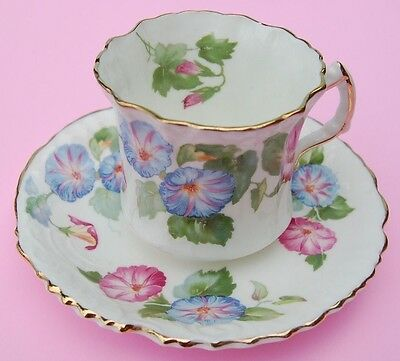 Hammersley Pink & Blue Morning Glory Ruffled Teacup and Saucer - circ. 1939