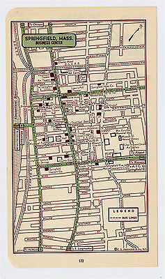 1951 Original Vintage Map Of Springfield Massachusetts Downtown Business Center