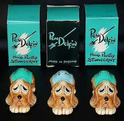 3 PENDELFIN Pooch Figurines Blue & Turquoise NEW IN BOX Rare! England Stonecraft