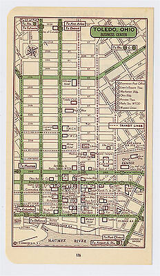 1951 Original Vintage Map Of Toledo Ohio Downtown Business Center