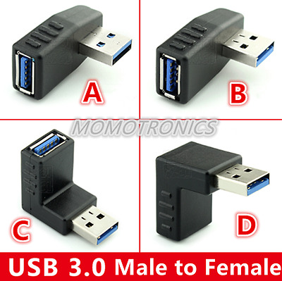 USB 3.0 Type A Male to Female 90 Degree Up Down R / L Angle L Adapter Extension