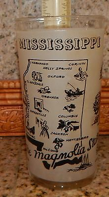 Vintage Mississippi The Magnolia State Frosted Collector Glass Beauvoir River