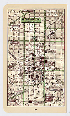 1951 Original Vintage Map Of Richmond Virginia Downtown Business Center