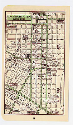 1951 Original Vintage Map Of Fort Worth Texas Downtown Business Center