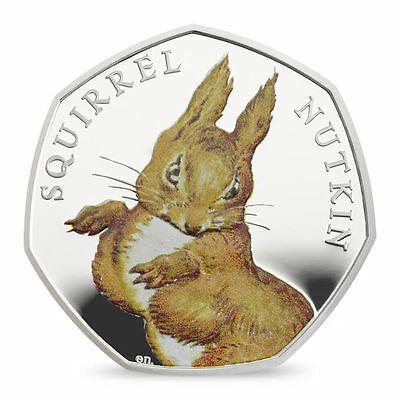 The Royal Mint Squirrel Nutkin 2016 UK 50p Silver Proof Coin - UK16BSNS