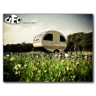"""*Postcard-""""Small Camper"""" with Bicycle next to it-   --CLASSIC--"""