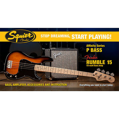 E-Bass Set Squier Affinity P-Bass & Rumble 15, BSB Bass Bundle Amp Verstärker Zu