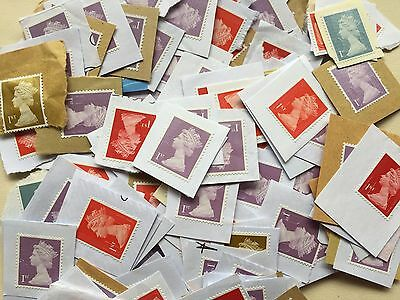20/500 GB/UK/British 1st Class UNFRANKED Stamps ON Paper, Gold/Red/Blue