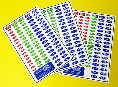 SOCKET SET IDENTIFICATION TOOL LABEL stickers METRIC, SAE,TORX DRIVE 3 sheets