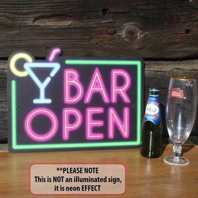 BAR OPEN SIGN, NEON SIGN EFFECT, Home Bar Sign,Funny Man Cave Cocktail Bar Sign
