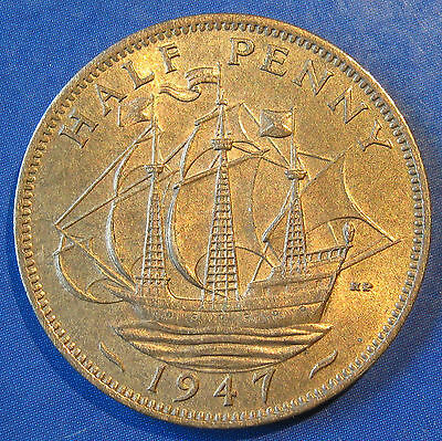 1947 ½d George VI Halfpenny in a lovely lustrous UNC