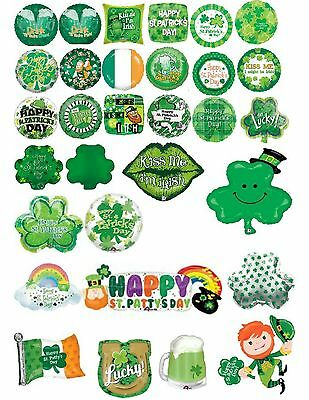 St Patrick's Paddy's Day Irish Assorted Foil Balloons Optional Personalisation