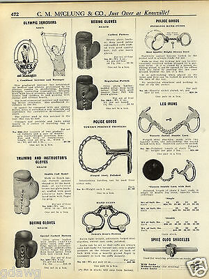 1931 PAPER AD Towers' Leg Irons Double Lock Ball & Chain Handcuffs  Shackles