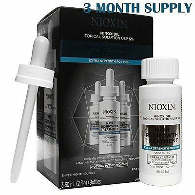 Nioxin Minoxidil 5% Hair Regrowth Treatment Extra Strength for Men - 90 Day Set