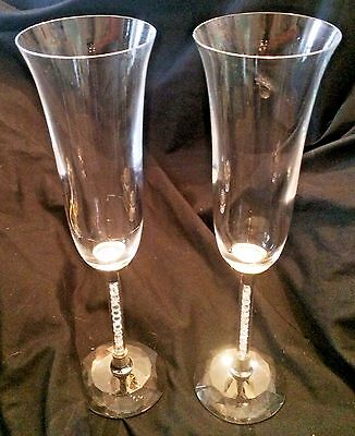 Beautiful Pair of Crystal and Metal Stemmed Champagne Flutes...