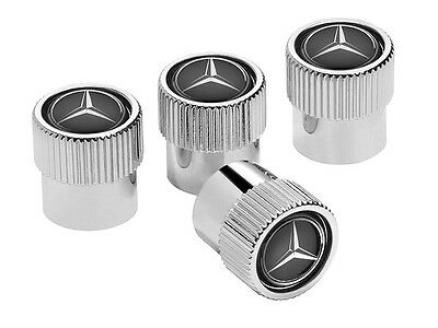Genuine Mercedes-Benz Chrome & Black Valve Caps B66472002