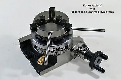 "Rotary Table Horizontal & Vertical 3""/75mm w/65mm Lathe Chuck with Back Plate"
