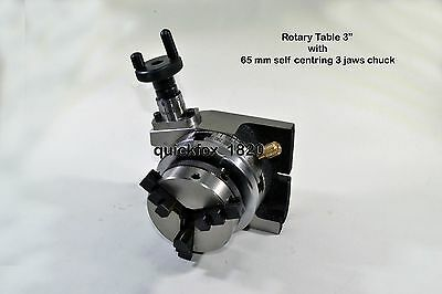 "Rotary Table 3""/75 mm with 65 mm Chuck+ Back Plate +T Nut & bolt Kit + Allen Key"