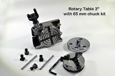 "Rotary Table 3"",75 mm,Chuck 65 mm self centering Jaws - Ratio 38:1"