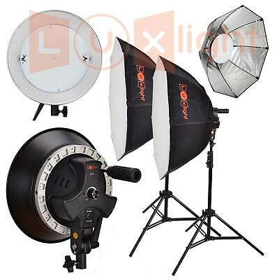 Continuous Lighting Double LED Octabox Kit -Dimmable 5400k Photo Video- LuxLight