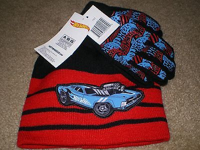Hot Wheels Hat and Gloves Set Knit Beanie NWT