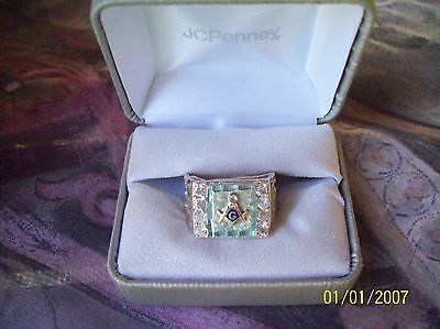 Vintage Sterling Silver 925 Masonic and 14kt gold inlay Ring 6 CZ Stone  Size 11