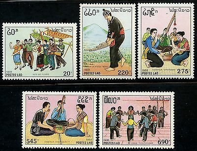 LAOS N°1032/1036** Coutumes & traditions, musique, 1991 Music Sc#1044-1048 MNH