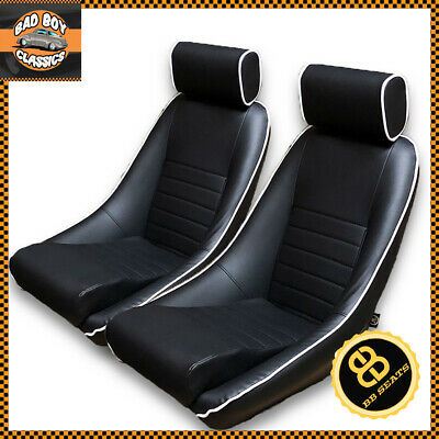BB1 RS Classic Car Black / White Piping Sports Racing Bucket Seats UNIVERSAL x2