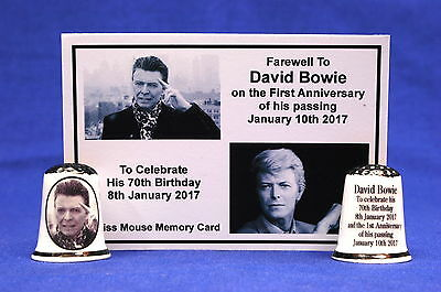 Farewell To David Bowie 1st Anniversary & 70th Birthday Thimble+ Card B/177