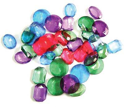 "Colored Pirate Jewels (144 ct) - 1"" Diamond Gem Booty Toy Jewels Treasure Chest"