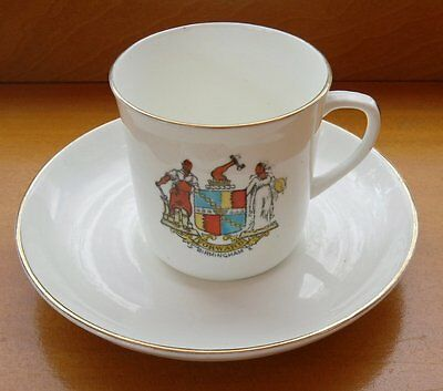 """Vintage Birmingham Crested Ware Cup (2.2"""" High) and Saucer (4.5"""" Diameter) VGC"""